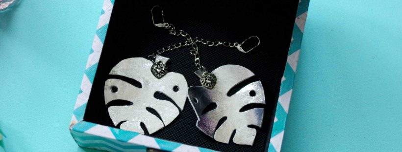 Monstera earrings/ diy/ tutorial/ jewelry/ Ohrringe
