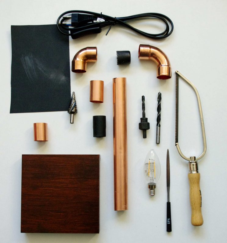 tischlampe aus kupferrohr table lamp made of copper pipe idim in berlin. Black Bedroom Furniture Sets. Home Design Ideas