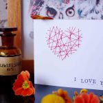 Bestickte Valtentinstagskarte  – Valentin's Day card with embroidery