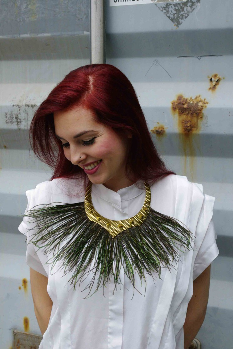 Statement necklace with peacock grass