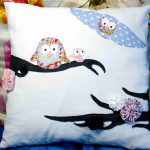 Kissen mit appliziertem Eulenpaar aus Stoffresten - pillow case with applicated owl couple