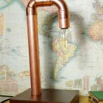 Tischlampe aus Kupferrohr - table lamp made of copper pipe